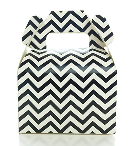 Black Candy Box, Mini Chevron Party Gift Boxes (12 Pack) - Black Birthday Party Supplies, Black Halloween Treat Boxes for Wedding Favors or Party Candy Favors -