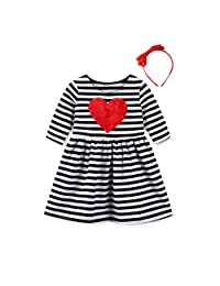 OcEaN Toddler Kids Baby Girls Heart Striped Princess Dress Sundress Outfits Clothes