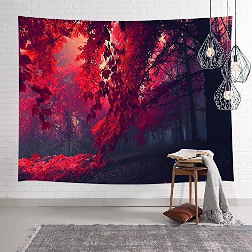 (Red Forest Tapestry Wall Hanging, Nature Trees with Red Leaves in Fog, Fantasy Fairy Decor Wall Art Decor Tapestries, Tapestry Wall Art Chakra Home Decorations for Bedroom Dorm Decor 60X40in)