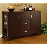 K&A Company Modern Sideboard Dining Room Server Buffet Wood Furniture Dresser Set Stand Server in Cappuccino Finish