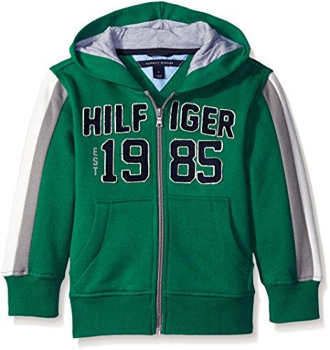Tommy Hilfiger Little Boys' Jean Zip up Fleece Sweater, Verdant Green, 4 by Tommy Hilfiger