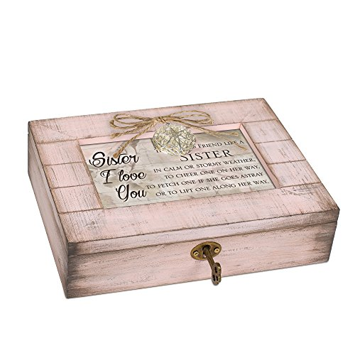 (Cottage Garden Friend Sister Blush Pink Distressed Locket Music Box Plays Wind Beneath My Wings)