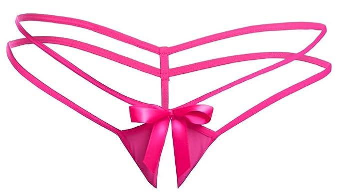 factory price b0c16 2eb47 Orion String - Ouvert Höschen für Frauen, Pinker String mit Schleifen, Sexy  Dessous-Höschen mit verführerischer Öffnung Vorne, Neon-Pink