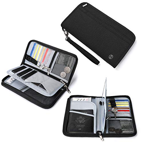 Vemingo Family Passport Holder RFID Blocking Travel Document Organizer Fits 5 Passports, Travel Passport Wallet for Men & Women