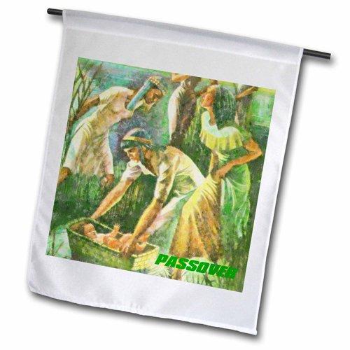 - 3dRose fl_37410_2 Moses in Basket Passover Scene Garden Flag, 18 by 27