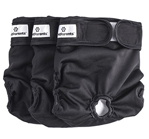 Pet Parents Washable Dog Diapers (3pack) of Doggie Diapers, Color: Black, Size: Medium Dog Diapers