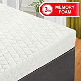 EMONIA Queen Mattress Topper - 3 inch Memory Foam Bed Mattress Pad with Bamboo Mattress Cover,Removable Hypoallergenic and Soft