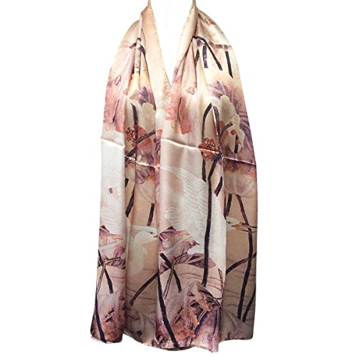 - Wrapables Luxurious 100% Charmeuse Silk Long Scarf with Hand Rolled Edges, Cranes