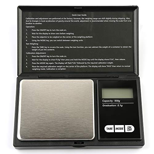 PONEKA Electronic Digital Pocket Scale Jewelry Gold Diamond Weighting Scale Gram Weight Scales 500g 0.1 Min LCD