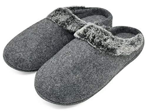 jiajiale Mens Felt Slippers Warm Fuzzy Faux Fur Scuff Slipper Fuzzy Plush Indoor House Slip on Shoes Non Slip Rubber Sole ... Grey