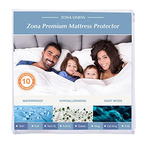 Towelling Protector Mattress (Zona Premium Waterproof Mattress Protector – Cal King, 100% Cotton Terry Fitted Cover – 10y Warranty)