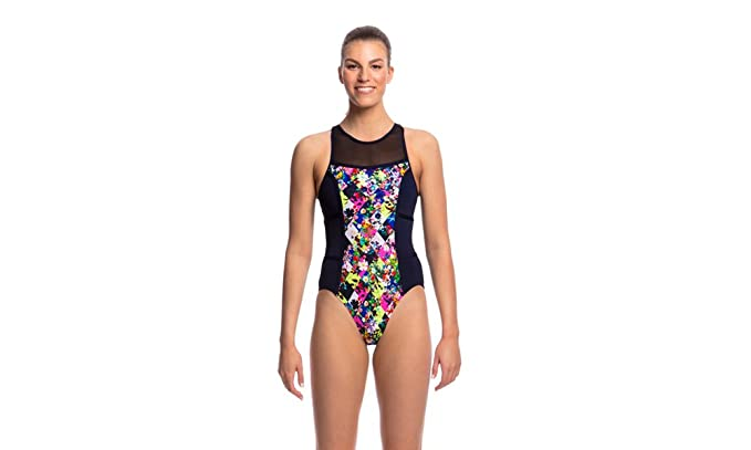 09065f696be99 Funkita Princess Cut Hi Flyer Ladies One Piece Supportive Fit Swimwear  Swimsuit with Zip Fastening at Back: Amazon.co.uk: Clothing