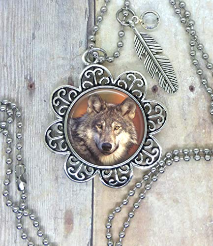 Wolf, Photo Image in a Nice Setting, Adorned with a Feather Charm & Swarovski Clear Crystal. Your Choice, Necklace, Backpack Clip, Keychain, or Purse Clip. Spirit Animal Totem, Park Ranger Gift.