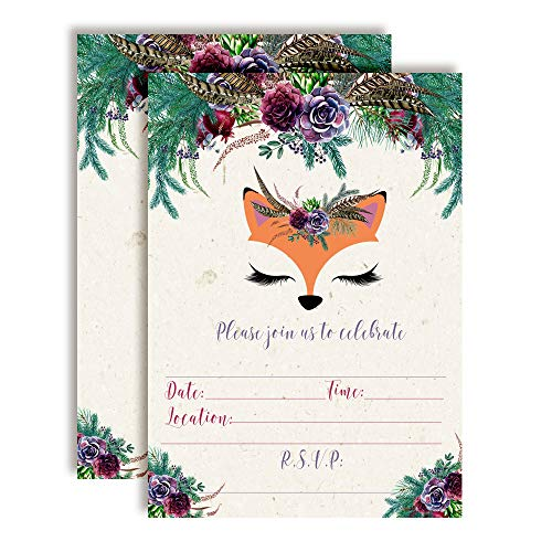 Woodland Forest Fox Face Floral with Greenery Birthday Party Invitations, 20 5
