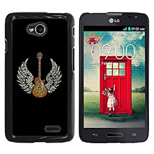 Be-Star Único Patrón Plástico Duro Fundas Cover Cubre Hard Case Cover Para LG Optimus L70 / LS620 / D325 / MS323 ( Guitar Wings Music Angel )