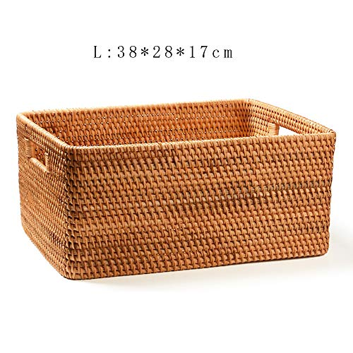 Handmade Rattan Towel Lotion Organizer Box Cup Stacking Support Container Book Magazine Large Storage Holder(L-38cm) ()