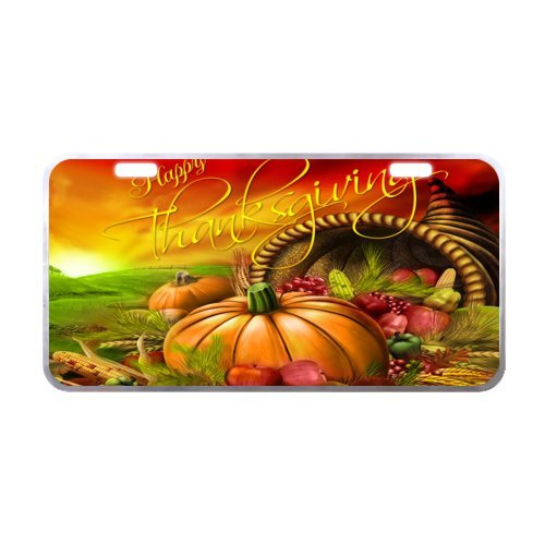 Anticorrosive Thanksgiving Turkey With Pumpkin Metal Car License Plate, Car Plate 11.8