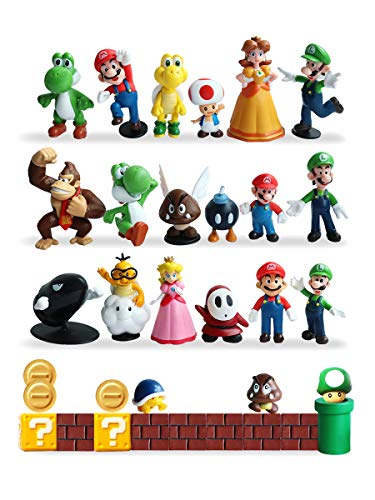 HXDZFX 32 PCS Super Mario Action Figures,Super Mario Bros Figurines Peach Princess,Daisy Princess,Turtle,Mushroom,Orangutan,Coin,Brick,Perfect for Onaments Decoration collectionism]()