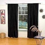 Black Rod Pocket Velvet Curtain / Drape / Panel – 43W x 63L – Piece For Sale