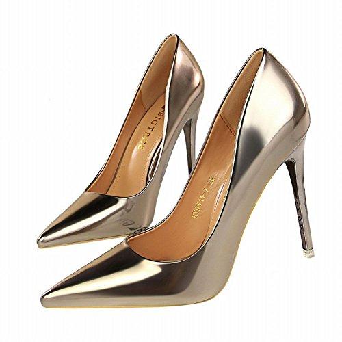 MissSaSa Damen high heel step Pointed toe Lack-Pumps Taupe