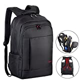 Kuprine 17 Inch Water Resistant Business Lightweight Slim Laptop Backpack for Men Women, Anti Theft College Computer Backpack Travel Bag Black