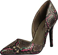 Breckelles - Women's Mavis Pointed Toe Single Soles Pump, D'orsay Style Open Side Design, Classic Pointed Toe, Faux Snake, Heel Measures Approximately 4 inches, All Man Made Material, Made in China, #39220 39-220