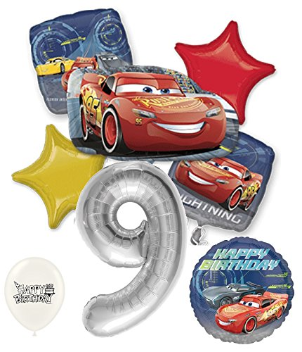 Silver Number 9th Birthday Disney Cars Lightning Mcqueen Bouquet Of Balloons by Ballooney's Sterling Silver Balloon