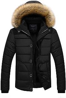 Cappotto Uomo Inverno Foderato Velluto vestibilità Slim Addensare Caldo Giacca con Cappuccio a Maniche Lunghe