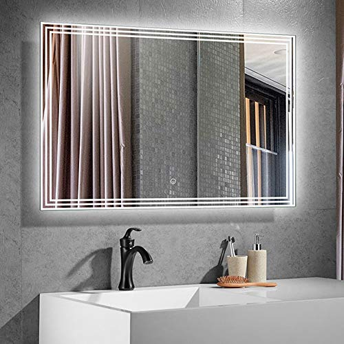 DECORAPORT 40 x 28 in LED Lighted Bathroom Mirror, Wall Mounted Vanity -