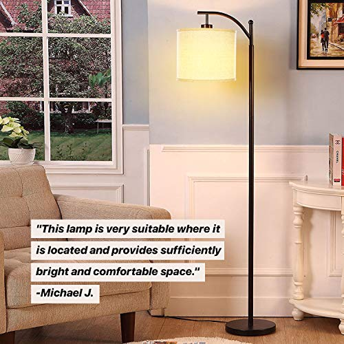 Brightech Montage - Bedroom & Living Room Floor Lamp - Reading Standing Light with Arc Hanging Shade - Indoor, Tall Pole Lamp for Office - Suits Mid Century Modern & Farmhouse - with LED Bulb - Bronze