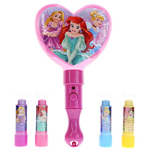 Mirror Shine Lip Gloss - Townley Girl Disney Princess Sparkly Lip Balm For Girls, 4 pack with Light Up Mirror