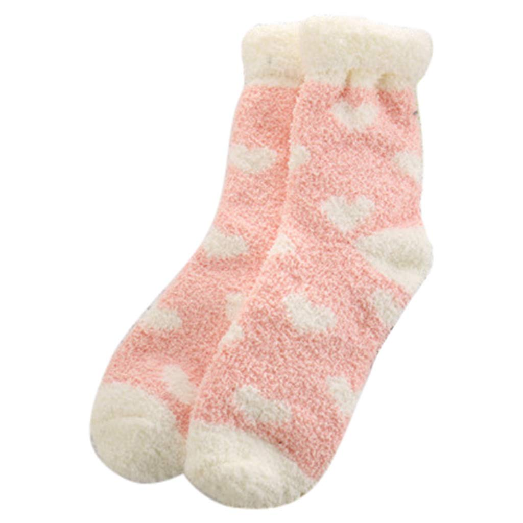 Fine Winter Ladies Warm Sleep Socks Towel Socks Floor Socks Balls Coral Fleece Socks (Pink)
