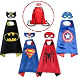 Supreal Supply Company Superhero Dress up Costumes Kids Cartoon Capes Set with Masks for Party Boys Birthday 4PCS with a Bag