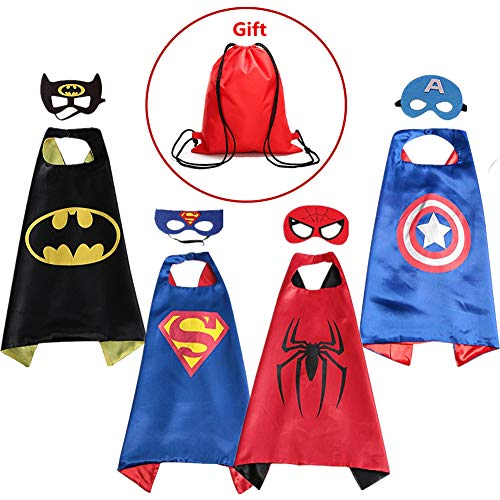 Supreal Supply Company Superhero Dress up Costumes Kids Cartoon Capes Set with Masks for Party Boys Birthday 4PCS with a Bag by Supreal Supply Company