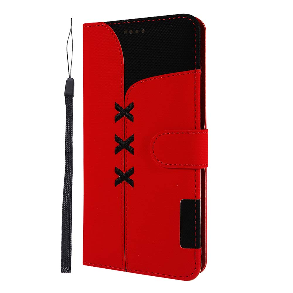 Huawei P20 Case, Lomogo Leather Wallet Case with Kickstand Card Holder Shockproof Flip Case Cover for Huawei P20 - LOGHU040325 Black