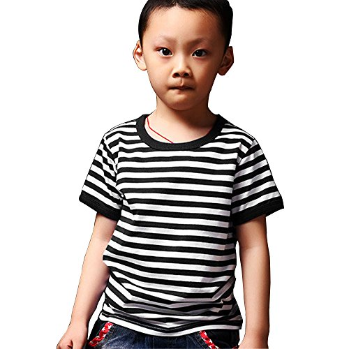 [PowerSupply-ZT Kid's Boys Short Sleeve Black Striped T Shirts Fashion Tee Tops] (Pugsley Addams Costume)