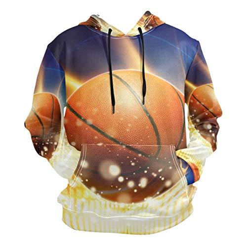 - Light Basketball Art Hoodies 3D Print Athletic Hooded Sweatshirts for Men Girls Boys(Health Fabric)