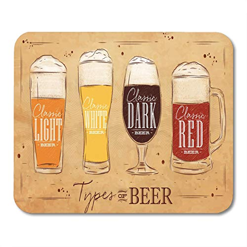 Ale Glass Pub (Emvency Mouse Pads Beer Types Four Main of Lettering Classic Light White Mouse Pad for notebooks, Desktop Computers mats 16