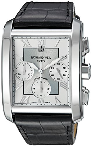 Raymond-Weil-Mens-Don-Giovanni-Swiss-Automatic-Silver-Tone-and-Leather-Casual-Watch-ColorBlack-Model-4878-STC-00658