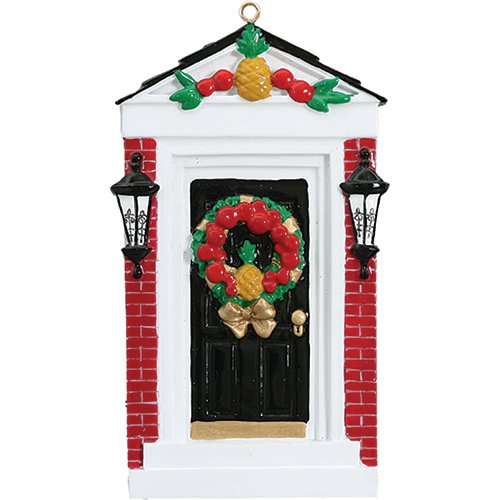 Personalized Colonial Door Christmas Tree Ornament 2019 - Black White Brick Wall Pineapple Wreath Garnished Our New Apartment 1st Elegant Front Family House-Mate Room Year - Free Customization