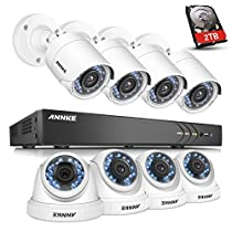 ANNKE Home Security System 16-channel 1080P HD-TVI H.264+ Realtime DVR and  (8) 2.0MP High-Resolution Weatherproof Outdoor Security Cameras with Smart Playback ,2TB SurveillanceHardDiskDrive
