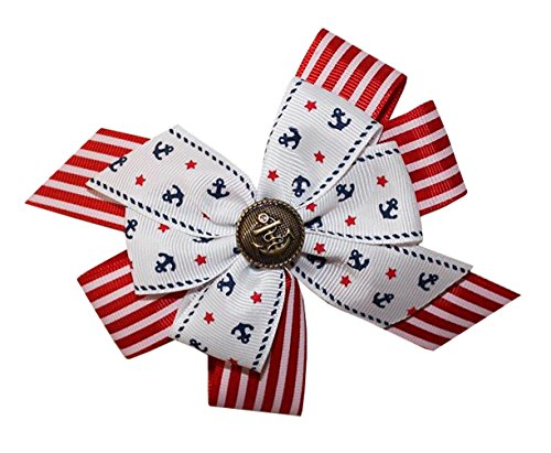 WD2U Girls Nautical Golden Anchor Red White Blue Hair Bow on Alligator Clip USA