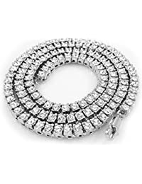 14k Gold White Silver 1 Row CZ ICED OUT ROSARY Necklace (Gold)