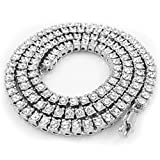 NIV'S BLING - 14K White Gold Plated Tennis Necklace - Iced Out 1 Row Chain, 24 Inches