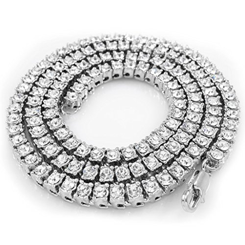d Iced Out 1 Row Tennis Necklace, 18 Inches (Row Chain)