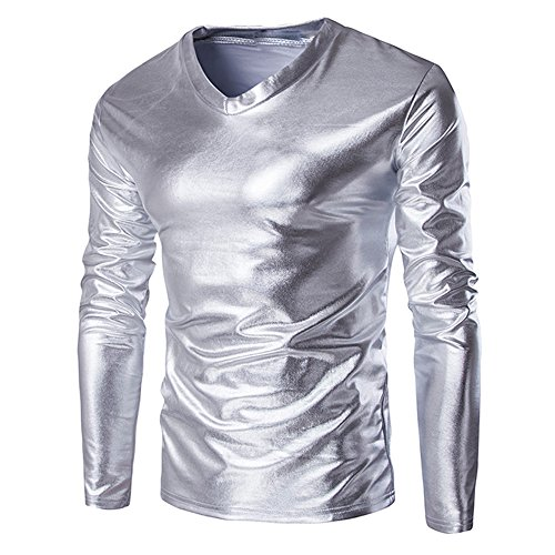 Clearance Sale! ! Charberry Mens Metallic Shiny Wet Look Slim Gilded Glossy Costume Long-Sleeved T-Shirt V Neck Blouse (US-XL/CN-L2, Silver) from Charberry