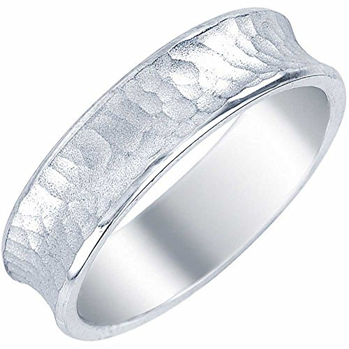 6mm Carved Comfort Fit Band - 18K White Gold Carved Women's Hammered Finish Concave Comfort Fit Wedding Band (6mm) Size-5.5c1