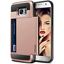 Galaxy S7 Case, Vofolen Slidable Card Holder Galaxy S7 Wallet Case Card Slot ID Pocket Protective Hard Shell Shock Absorbing TPU Rubber Bumper Armor Scratch-proof Case Cover for Galaxy S7 - Rose Gold
