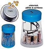 """elektrische Spardose - """" Euro / € Münz - Sortiermaschine in BLAU """" + Zählfunktion / stabile & digitale Sparbüchse / Münzsortierer - Sparschwein für Kinder & Erwachsene - Rechnerfunktion - zählt Münzen - eingebauter Geldzähler - Zähler / Geldzählmaschine - Münzzähler / Münzenzähler - Digital"""