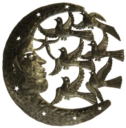 Haitian Drum Steel Recycled (Le Primitif Galleries Haitian Recycled Steel Oil Drum Outdoor Decor, 23 by 23-Inch, Moon and Birds)
